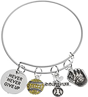 Infinity Collection Softball Bracelet- Never Give Up Softball Jewelry -Gift for Softball Player, Team and Coaches Gifts