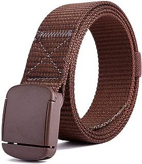 Outdoor Sports Canvas Belt Casual Hypoallergenic Belt Nylon Belt Long 120cm (Color : Coffee)