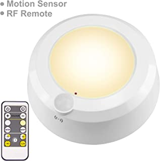 LUXSWAY Wireless Motion Sensor Ceiling Light, Battery Operated Light with Remote RF Signal Detector, Cool /Warm White Shower Light ,Bright Light Timer for Gargage Stair Closet Hallway 5.67 Inch