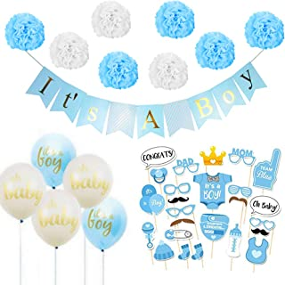 Baby Shower Decorations for Boy Kit - It's a Boy Baby Shower Party Supplies, 25 Pcs Cute Photo Booth Props, Blue & White Tissue Paper Pom Poms, Balloons, Hanging Banner for Home Room Decor