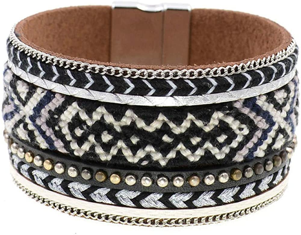 Black Bracelet Bohemia Cotton San Diego Mall Super sale Leather Handmade