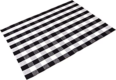 Levinis 100% Cotton Washable Rugs Large Black and White Plaid Rug for Living Room/Bedroom, 67''x90''