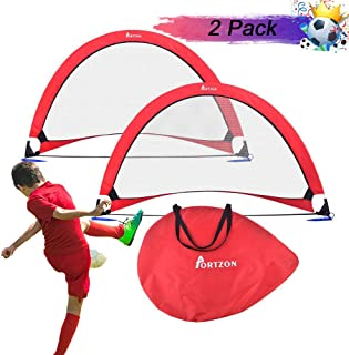 Portzon pop up Soccer Goal Set of 2,Soccer Goals for Backyard- Portable Soccer Nets with Carry Bag for Indoor & Outdoor Sports