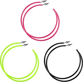3 Pairs Women Fashion Retro Neon Earrings for 80's Party or Retro Costume Party (Loop Earings)