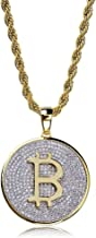TOPGRILLZ Fully Iced Out CZ 14K Gold Plated Bitcoin Cryptocurrency Pendant Necklace Chain Men