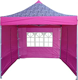 Delta 8'x8' Pink Zebra - EZ Pop up Canopy Party Tent Instant Gazebo 100% Waterproof Top with 4 Removable Sides Canopies