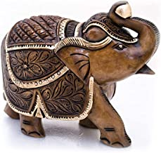 Handicraft Wooden Elephant Idol Feng Shui Good Luck Statue Handmade (2 inches) Home Decor with antiq Look Gift and Temple ...