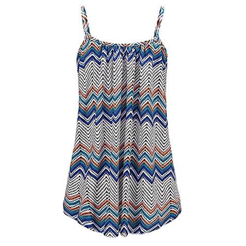 Ykghfd Chaleco largo impreso, camiseta sin mangas fluida para mujer, camiseta suelta, blusa plisada con tirantes de espagueti, azul, XL