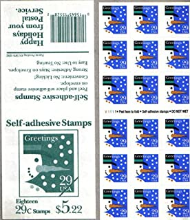 1993 SNOWMAN CONTEMPORARY CHRISTMAS #2803a ATM Booklet of 18 x 29 cents US Postage Stamps