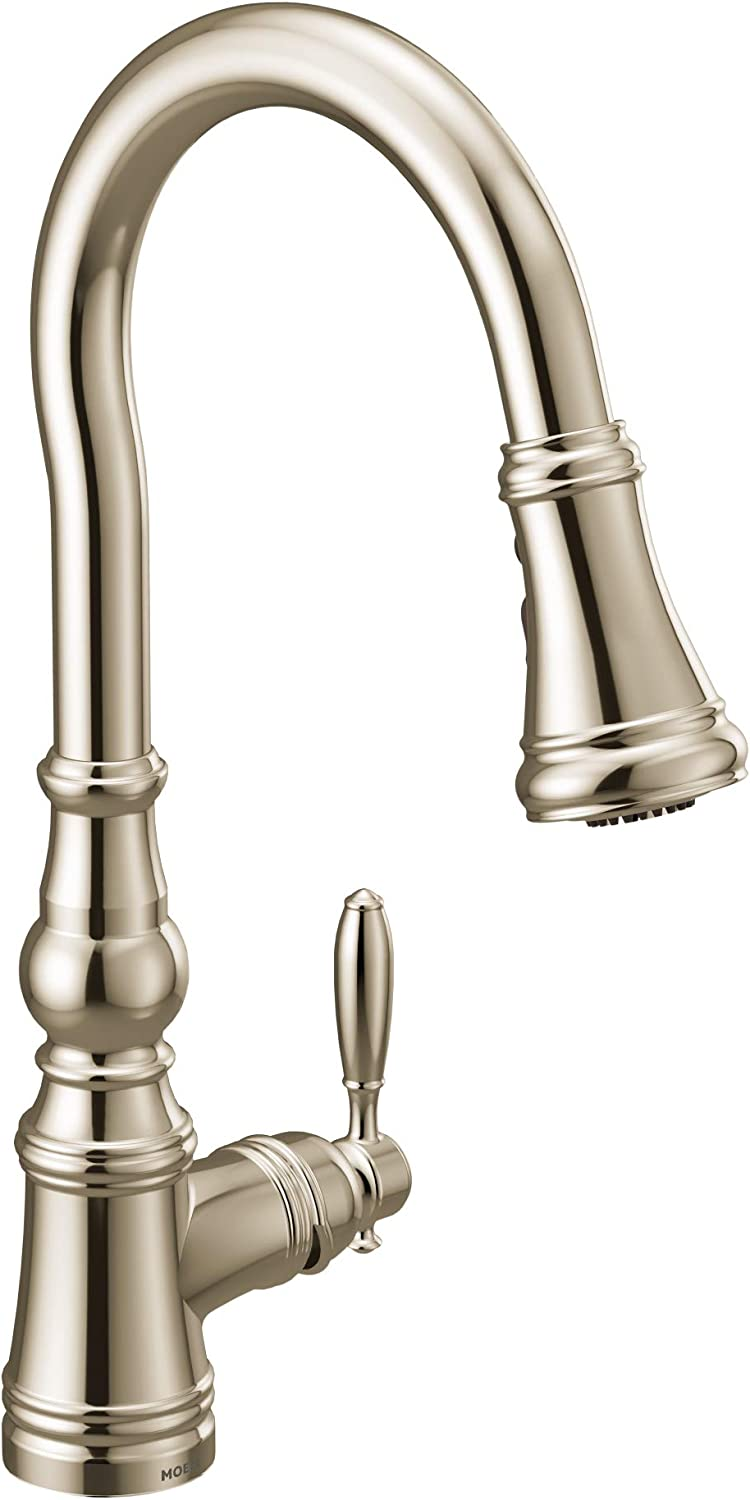 Moen S73004nl Weymouth Shepherd S Hook Pulldown Kitchen Faucet Featuring Metal Wand With Power Boost Polished Nickel Amazon Com
