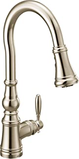 Moen S73004NL Weymouth Shepherd's Hook Pulldown Kitchen Faucet Featuring Metal Wand with Power Boost, Polished Nickel