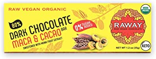 RAWAY Vegan Dark Chocolate | Keto 80% Dark Chocolate Maca & Cacao Bar | Raw, Organic, Dairy-Free, Sugar-Free, Gluten-Free,...