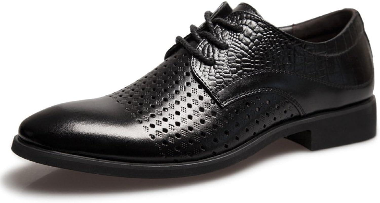 LEDLFIE Men's Real Leather shoes Classic Breathable Cutout Fashionable Lace-up shoes