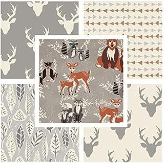 5 FABRIC BUNDLE - Various Sizes - Hello Bear - Gray - Bonnie Christine - Art Gallery Fabrics - Deer Head Silo Antlers Animals (Fat quarters)