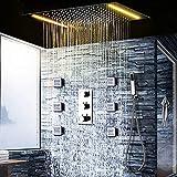 隠された天井の降雨LEDシャワー水栓セット、360X500mm大きなシャワーバス現代のサーモスタットは、混合弁