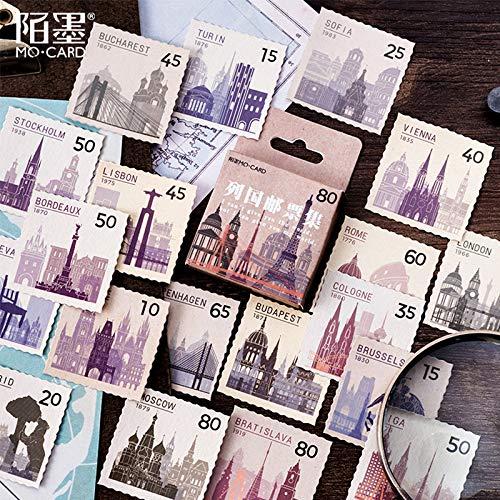 BLOUR 46 Stück/Lot Vintage World Briefmarke Dekoration Papier Aufkleber Dekoration DIY Album Tagebuch Scrapbooking Etikett Aufkleber Kawaii