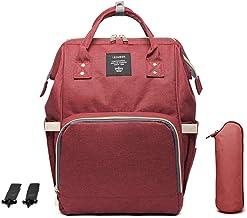 Mochilas de Pañales para Bebé, Maternal Bolso Multifuncional con USB de Viaje, Gran Capacidad, Impermeable (Rojo oscuro)
