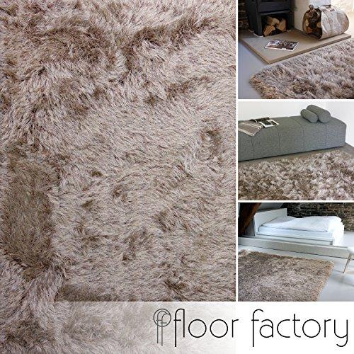 floor factory Tappeto Shaggy Pelo Lungo Prestige Marrone Chiaro 140x200 cm - Tappeto Morbido Extra Lungo