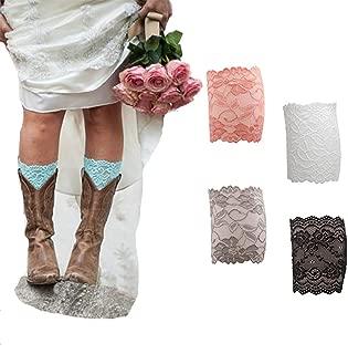 Women Lace Floral Boot Cuffs Leg Warmer Socks Pack of 4