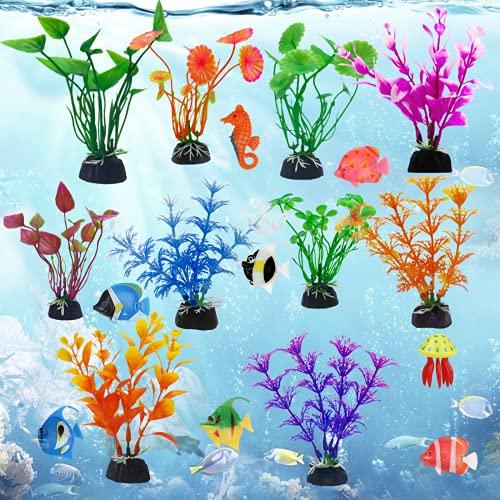 MEZOOM 18Stk Plastikpflanzen für Aquarien, künstliche Pflanzen Aquarium Deko Wasserpflanzen mit Tropische Fische Kunststoff Aquariumpflanze für Aquarium Landschaft