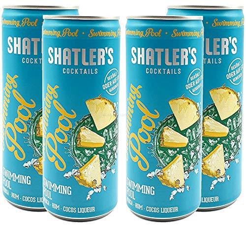 Shatlers Cocktail - 4er Set Shatlers Swimmingpool 0,25L (10,1{414ddcc12b681e38a9a14f096fa4993331c6c238cb4816db0ea531f048f7187a} Vol) inklusive Pfand EINWEG - Shatlers Cocktail - Ready to Go- [Enthält Sulfite]