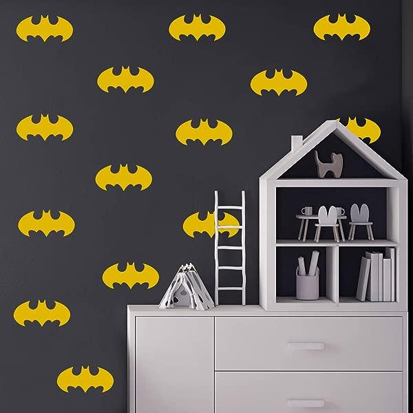 Set Of 20 Vinyl Wall Art Decal Batman 3 X 6 Each Cool Superhero Decor For Light Switch Window Mirror Luggage Car Bumper Laptop Computer Skin Peel And Stick Stickers 3 X 6 Each Yellow