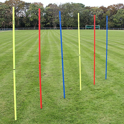 Superspieler24 5 x Slalomstange 180 cm mit Metallspitze, ø 25 mm, für Fußball-Training (rot)