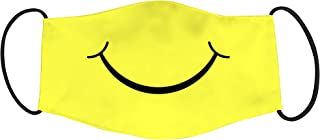 Vista Smiley Mask for Adults - Yellow -Cotton Reusable Washable Mask Size 20x13 cms