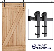 SMARTSTANDARD 8ft Heavy Duty Sturdy Sliding Barn Door Hardware Kit - Smoothly and Quietly-Simple and Easy to Install-Includes Step By Step Installation Instruction-Fit 42