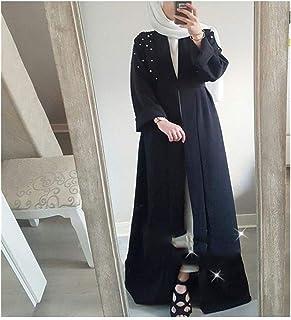 DSJTCH イスラム教徒のアバヤビーズドレスカーディガン真珠チュニックロングローブ着物Jubahラマダンアラビア語トルコThobeイスラム教の祈りの服 (Color :