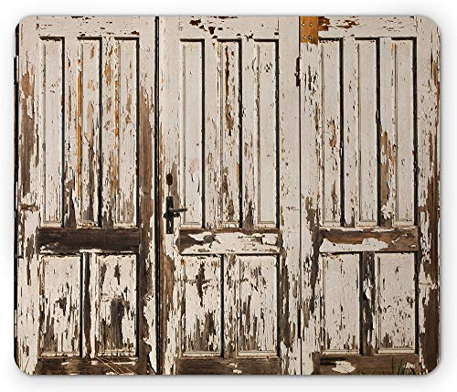 Rustieke muismat vintage huisingang met verticale oude planken gedistressed rustiek hardhout design rechthoek antislip muismat