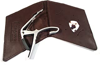 Leather Guitar Pick Case, diamond style to hold large trigger-style capo (dark