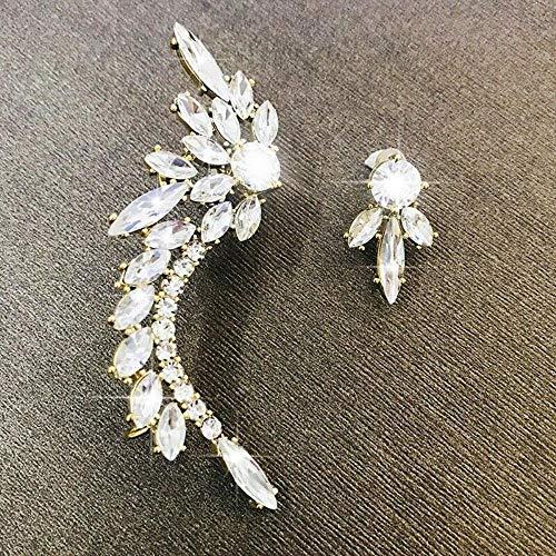 LEIXNDPLBO Dames 14k gouden en zilveren kristallen oor armband oorbellen bruids juwelen, goud