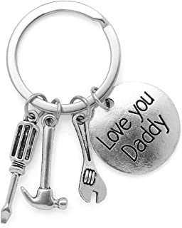 ATIMIGO Chirstmas Keychain Father - Stainless Steel Keychain Keyring for Dad from Daughter Son