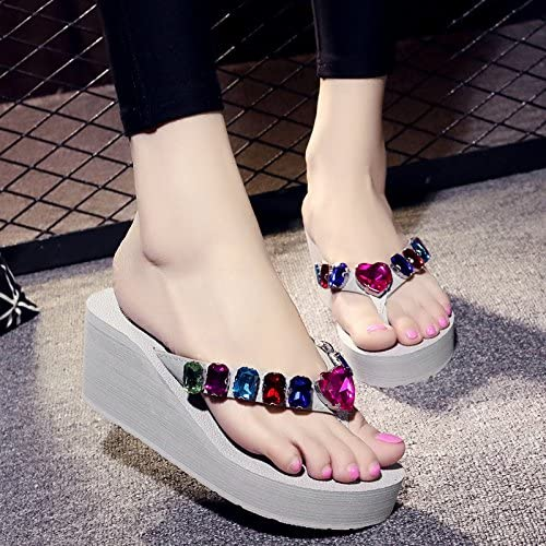 AWXJX Waichuan Tongs Enfants Diahommet Artificiel High-Heeled Tongs Style Simple Pente à Fond épais avec