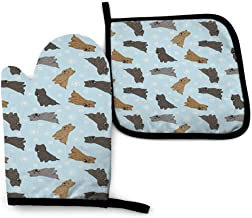 Cairn Terriers Winter Snowflakes Oven Mitt/Glove Square Potholder, Hot Pads and Cotton Microwave Oven Mitts Heat Resis