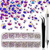 1870 Pcs AB Nail Rhinestones, Crystal Rhinestones for Nail Decoration, Flatback Glass Nail Gems for Nail Designs, Bling Nail Jewels In Container Box, 3D Nail Art Kit with Wax Pen and Nail Tweezers