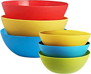 Kuber Industries Plastic Microwave Safe 6 Pieces Mixing Bowl Set- 500,1000 ML (Multi)