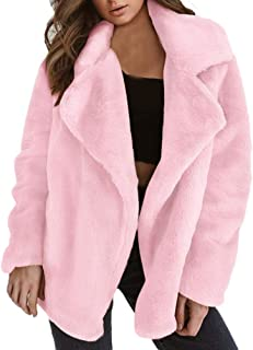 Women Winter Coat Keep Warm Outerwear Loose Big Collar Fur Coat,Pink,L