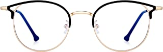 Designer Blue Light Blocking Computer Glasses Metal Round Cateye Eyeglasses for Women Reduce Eye Strain Black Gold