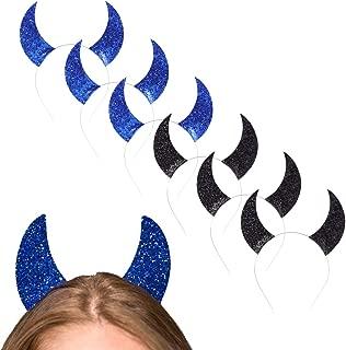 6pcs Devil Horns Headband Halloween Glitter Hairband Devil Horn Hair Hoop Hairband Cosplay