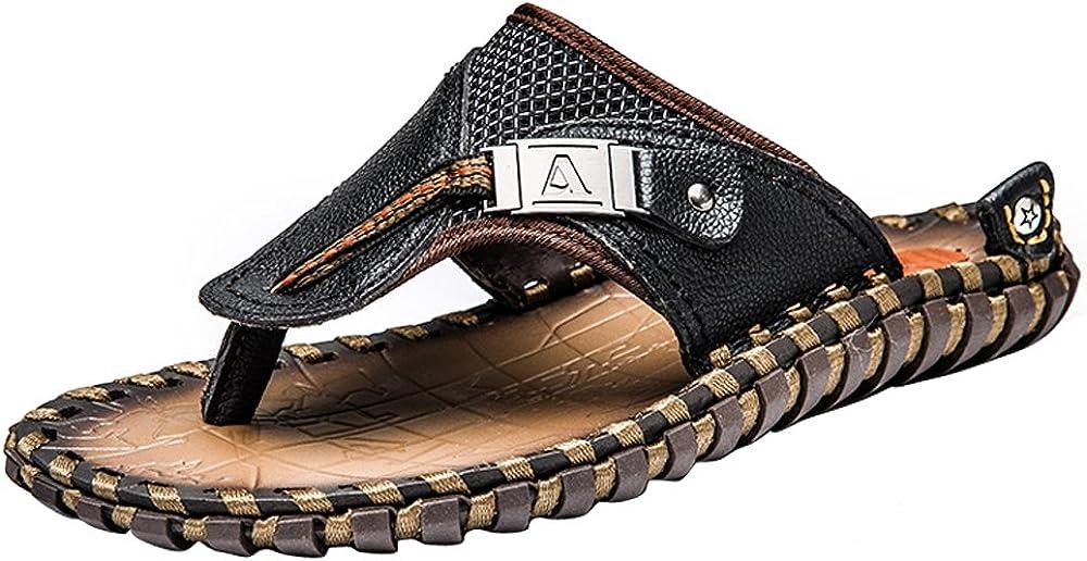 Cemarssi Men's Flip Flops Leather Sandals Summer Beach Slippers Bottle Opener Flip Flops for Men