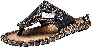 Men's Flip Flops Leather Sandals Summer Beach Slippers Bottle Opener Flip Flops for Men