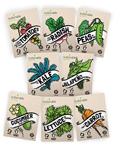 Vegetable Seeds Heirloom'SillySeed' Collection - 100% Non GMO. Veggie Garden Variety Pack: Tomato,...