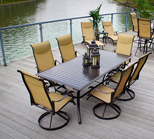 Pebble Lane Living All Weather Rust Proof Indoor/Outdoor 7-PC Cast Aluminum Patio Dining Set & 2 Loungers, 1 Slat Top Dining Table & 6 Swivel Rocking Dining Chairs with Padded Headrest, Brown/Cream