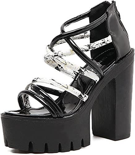 LNGXE New femmes femmes femmes Rome Straps Open Toe High Heel Ladies Ankle Strap Platform Chunky Sandals Chaussures Taille 8c6