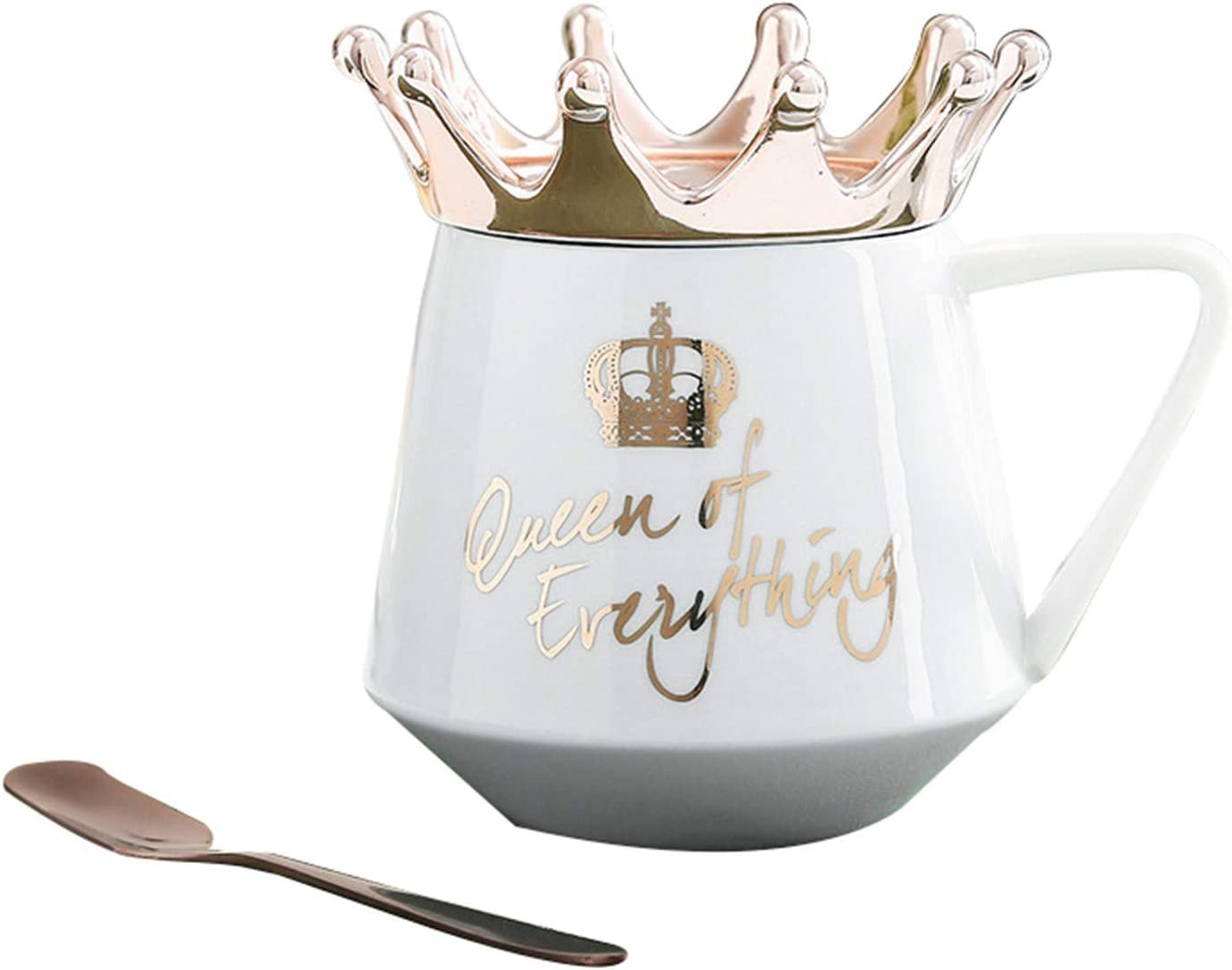ZS ZHISHANG Queen of Everything Mug with Crown Lid And Spoon Ceramic Coffee Cup Gift for Girlfriend Wife
