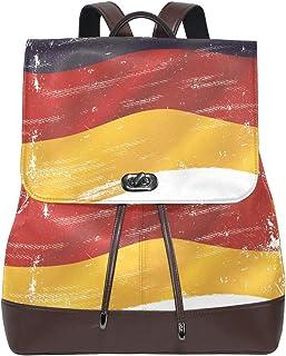 FANTAZIO Mochilas Vintage Bandera Alemana Bolso Escolar Cuero Daypack