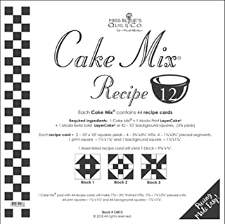 Miss Rosie's Quilt Co - Cake Mix Recipe 12 - Each Assembled Recipe Card Makes 1 9 3/8 X 9 3/8 Finished Block