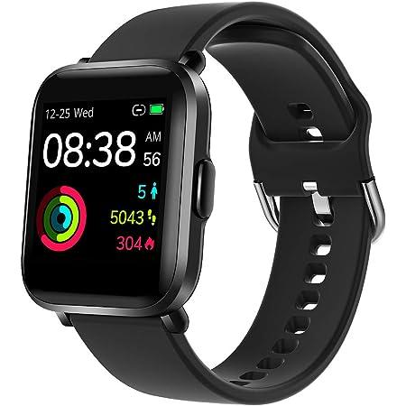 Smartwatch, YONMIG Orologio Fitness Uomo Donna, Smart Watch Touch con Saturimetro(SpO2)/Cardiofrequenzimetro da Polso, Fitness Tracker Sport Impermeabile 5ATM Bambini Cronometro per Android iOS Nero